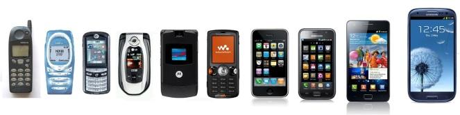 celulares antigos e novos