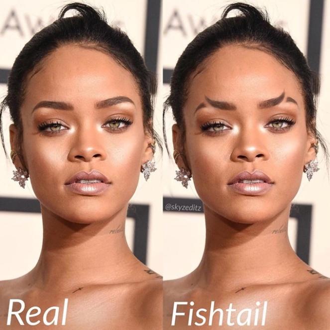 fishtail brows sobrancelhas de cauda de peixe sereia moda tendencia instagram 2018 go fashion 03 rihanna